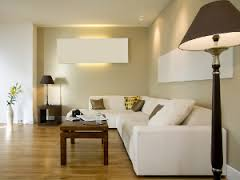 modern living room with long white sofa